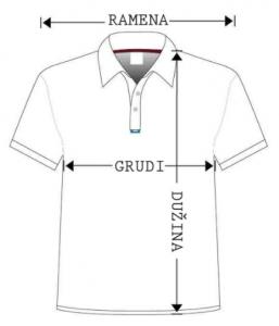 Skica majice sa mestima gde treba da se izmere dimenzije