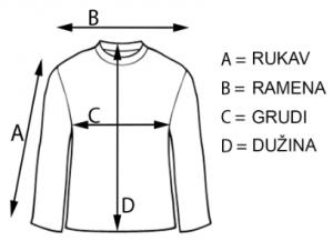 Ilustracija majice i masta gde i šta treba da se meri kako bi se precizno odredila veličina