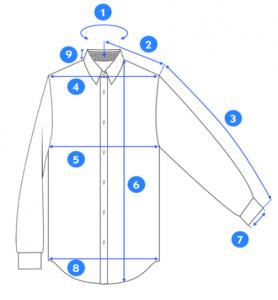 Ilustracija košulje sa crtama gde šta treba da se meri