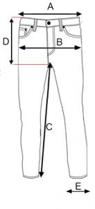 Ilustracija pantalona sa merama za brend Impulso